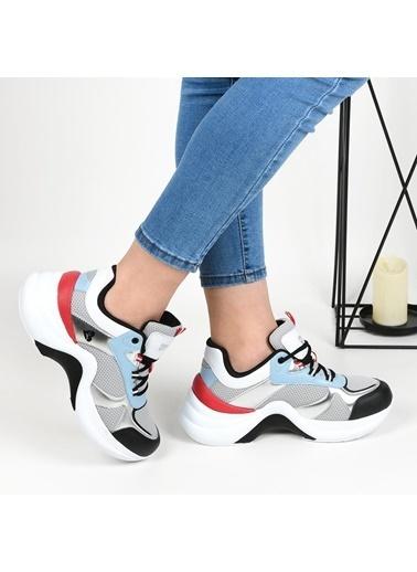 Bestof 078 Yüksek Taban Bayan Spor Ayakkabı Gri